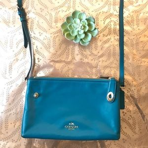 Coach Blue Smooth Leather Crossbody
